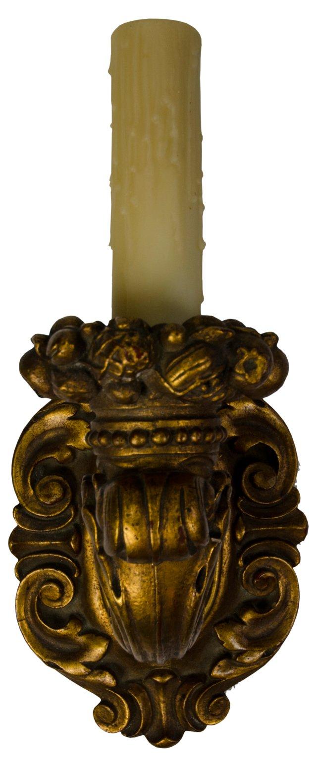 Vintage Gold Leaf Wood Sconce