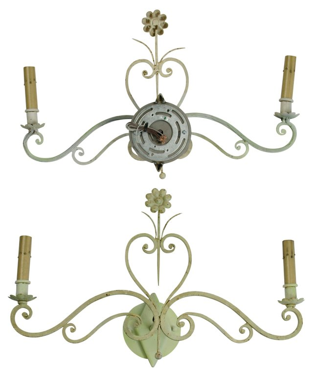 Painted White Iron Sconce, Pair