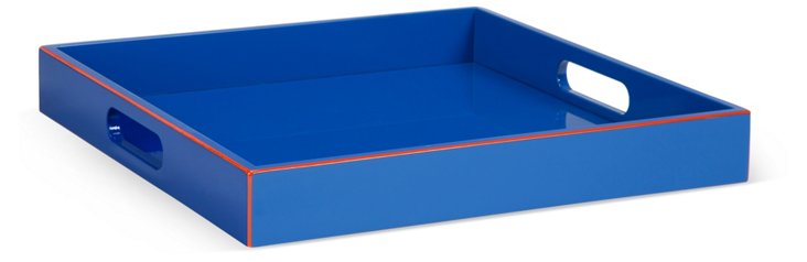 "15"" Lacquer Tray, Blue"