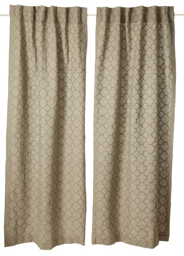 Set of 2 Intricate Curtains, Blue
