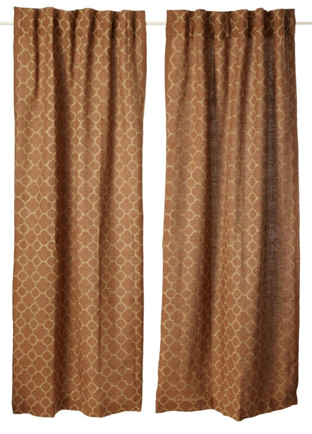 Set of 2 Intricate Curtains, Tobacco