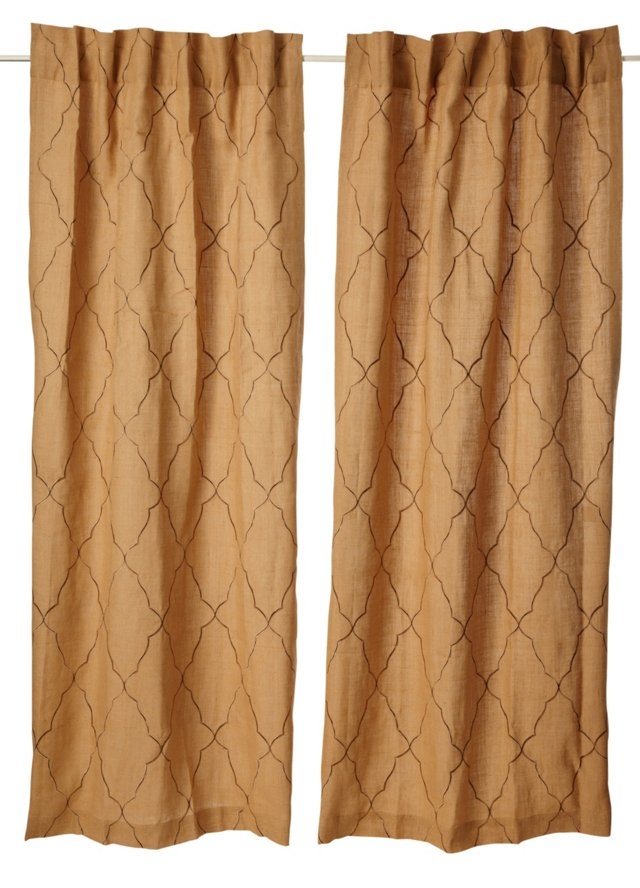 Set of 2 Intricate Curtains, Natural