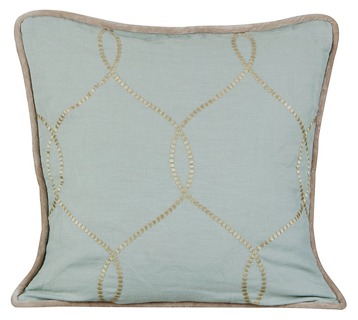 Jane 20x20 Embroidered Pillow, Blue