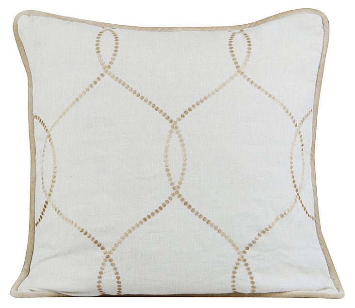Jane 20x20 Embroidered Pillow, Natural