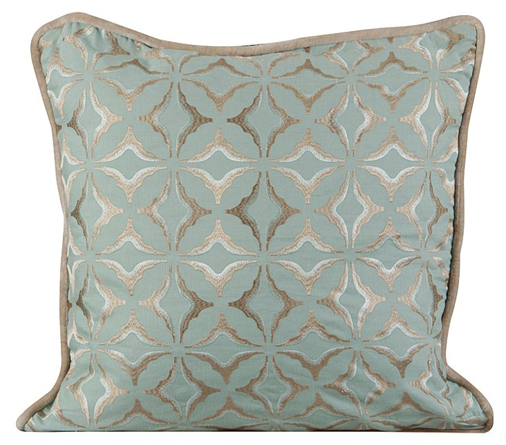 Miles 20x20 Embroidered Pillow, Blue