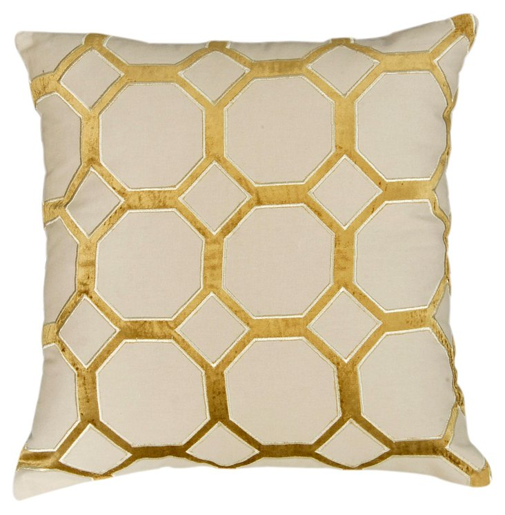 Supreme 20x20 Embroidered Pillow, Gold