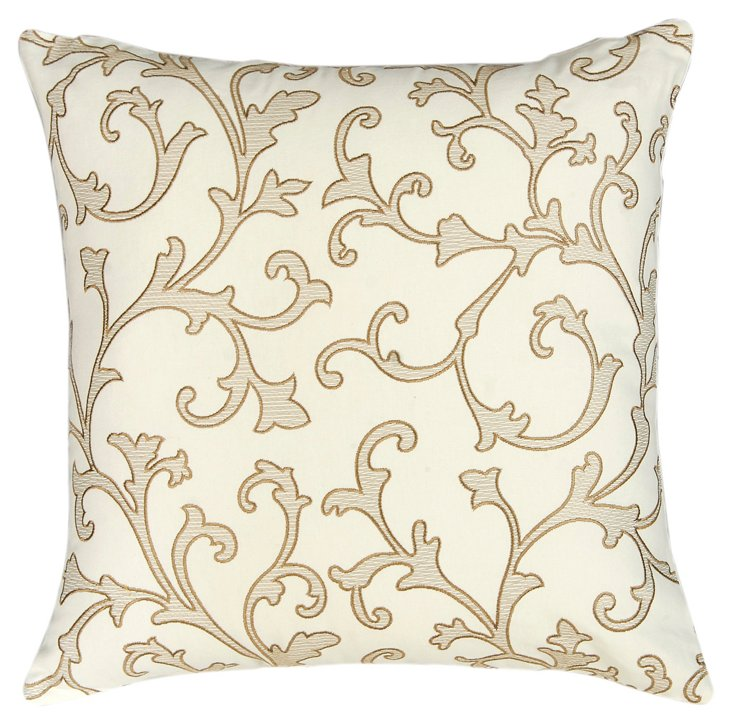 Gothic 20x20 Embroidered Pillow, Ivory
