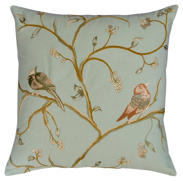 Birds 20x20 Embroidered Pillow, Blue