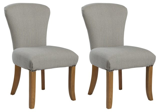 Striped Palmer Dining Chairs, Pair