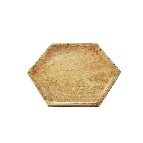 Hexagon Mango Wood Tray, Natural