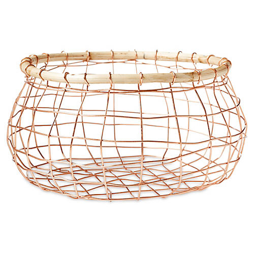 Tully Round Wine Basket, Copper/Beige
