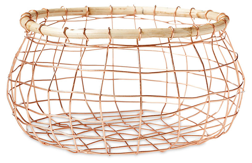 Tully Round Wine Basket - Copper/Beige
