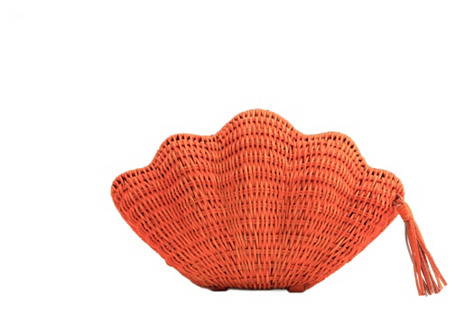 Jane Straw Clutch, Orange