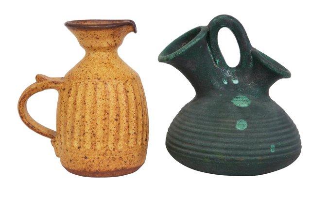 Art Pottery Pitchers, Pair