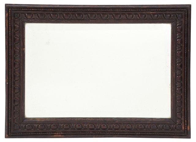 Carved Oak Beveled Mirror