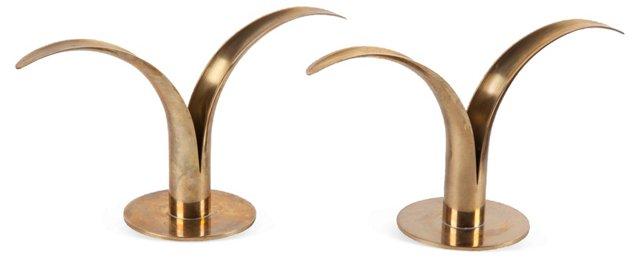 Swedish Brass Candlesticks, Pair