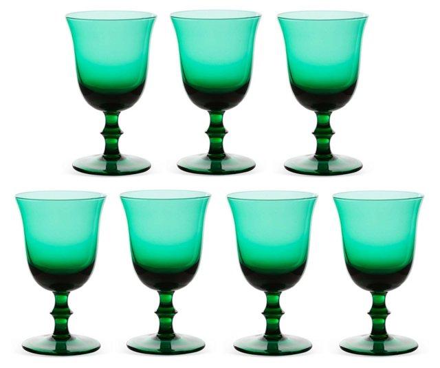 Green Wine Goblets, Set of 7