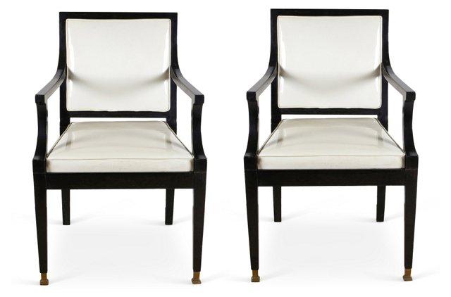White Patent Armchairs, Pair