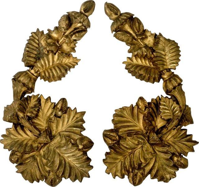 1880s Oversize Gilt Brass Tiebacks, Pair