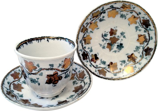 1880s Lusterware Cup & 2 Saucers