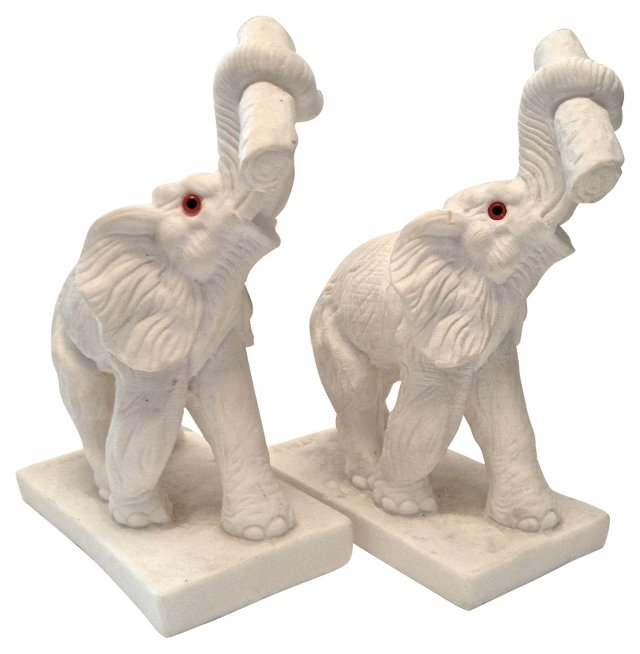 Marble Composition Elephants, Pair