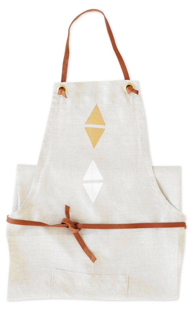 Linen Apron w/ Diamonds