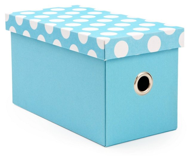S/2 Polka Dot Rectangle Boxes, Blue