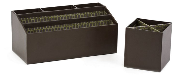 Green Square Pencil Cup & Desk Caddy Set