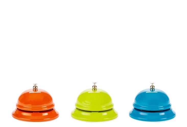 Service Bell Set, Blue, Green, Orange