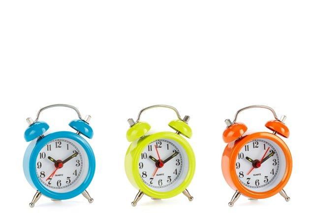 Mini Desk Clocks, Blue, Green,  Orange