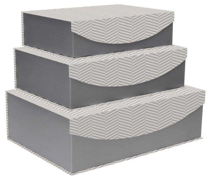 S/3  Chevron Nesting Boxes, Gray