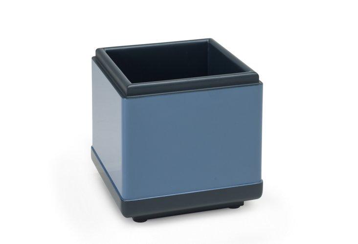 Square Dish, Blue Lacquer