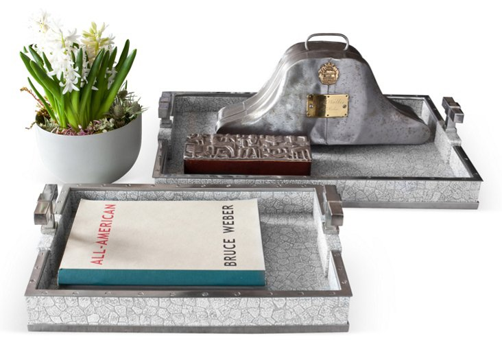 Large T Handle Tray, Gray/Nickel