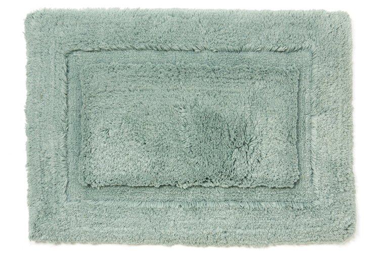 Egyptian Cotton Non-Slip Rug, Aqua