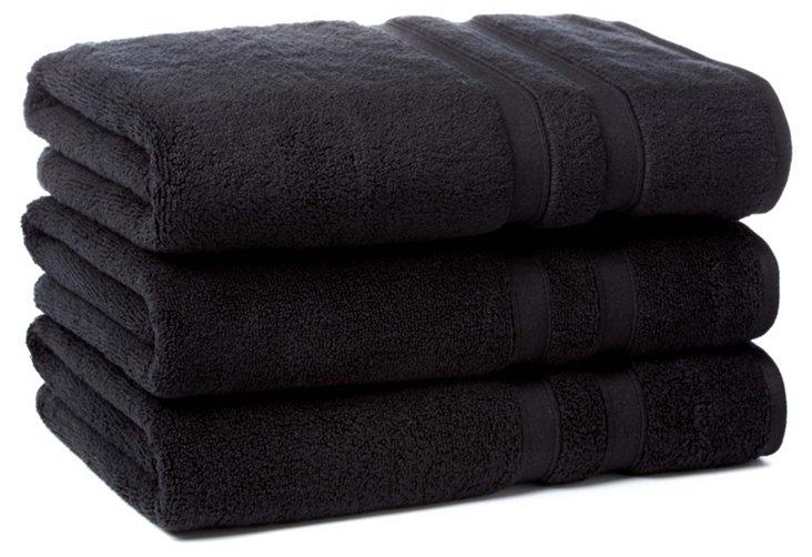 S/3 MicroCotton Bath Towels, Black