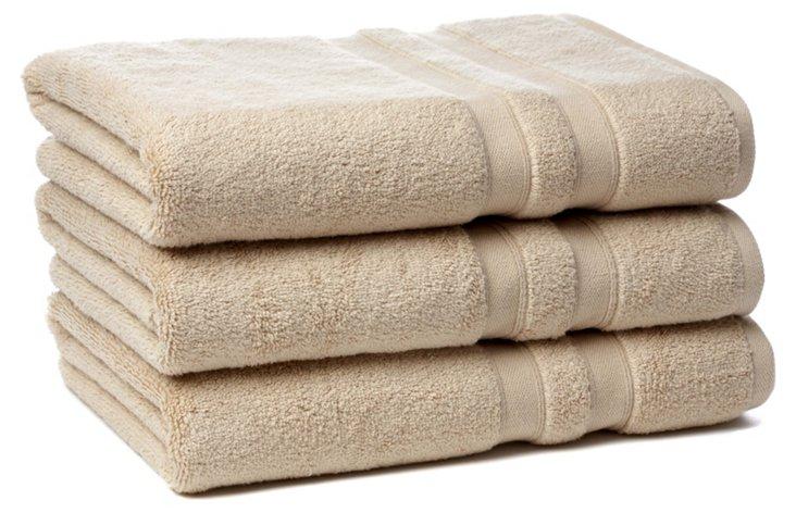 S/3 MicroCotton Bath Towels, Linen