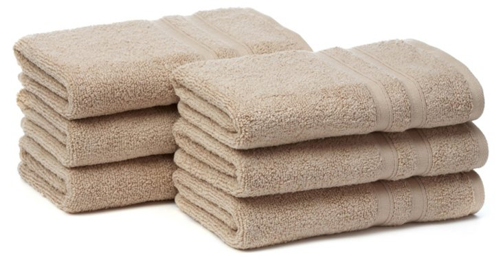 S/6 MicroCotton Hand Towels, Linen
