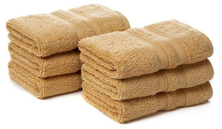 S/6 MicroCotton Washcloths, Maize