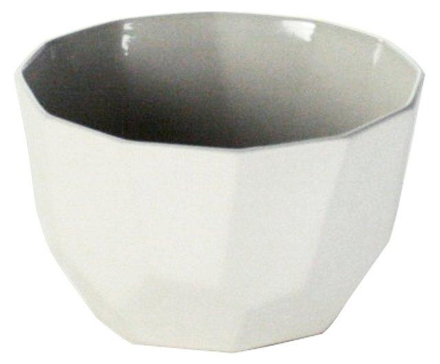 """5"""" Quartz Faceted Ceramic Bowl, White"""