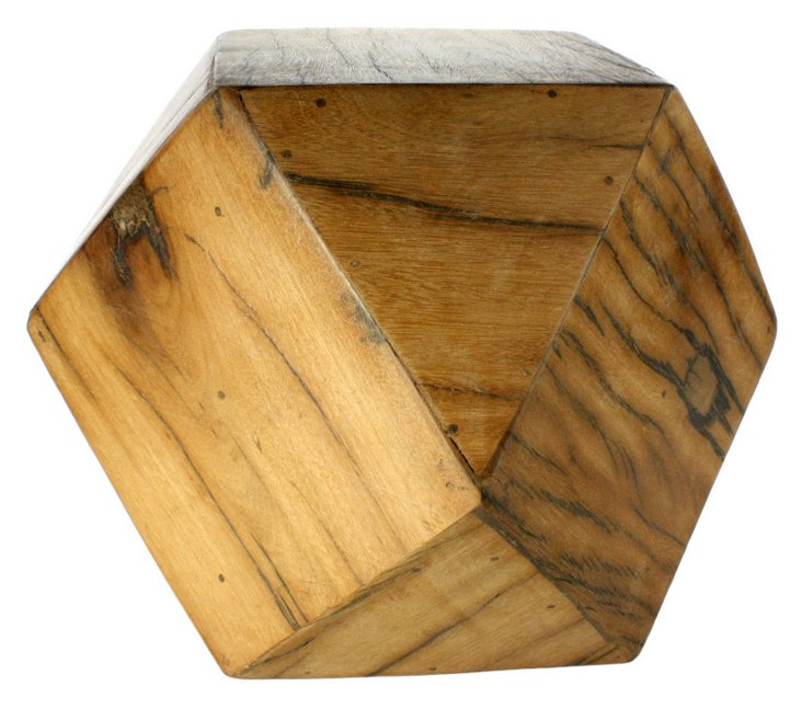 "9"" Faceted Wood Block, Brown"