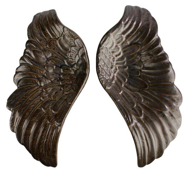 Pair of Ceramic Wing Trays, Bronze