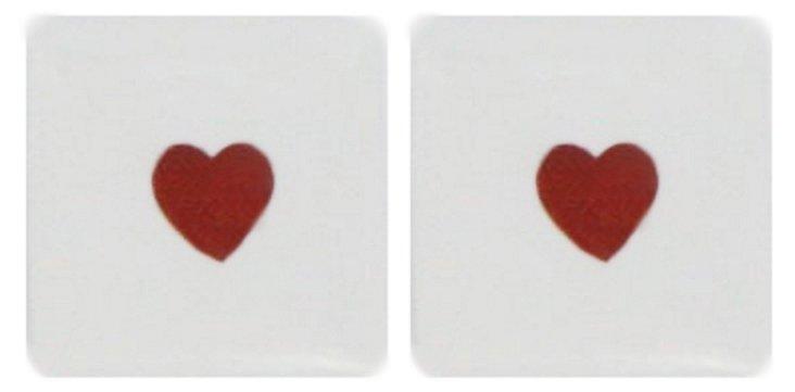 S/2 Mini Petit Heart Porcelain Boxes