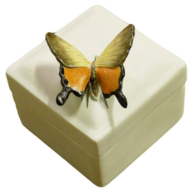 "3"" Ceramic Butterfly Box, White"