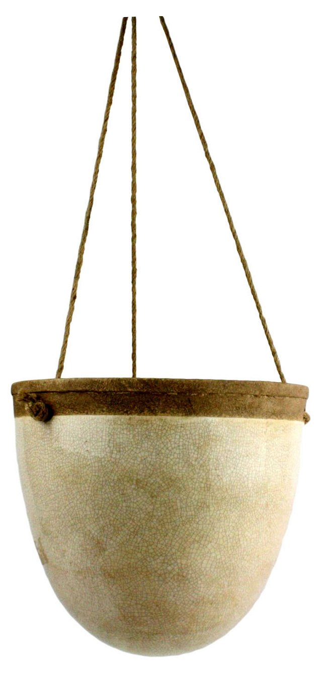 """12"""" Mulberry Hanging Planter, White"""