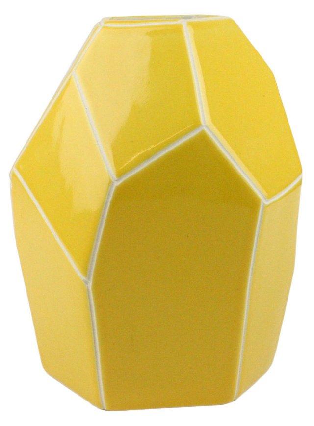 """9"""" Faceted Ceramic Vase, Yellow"""