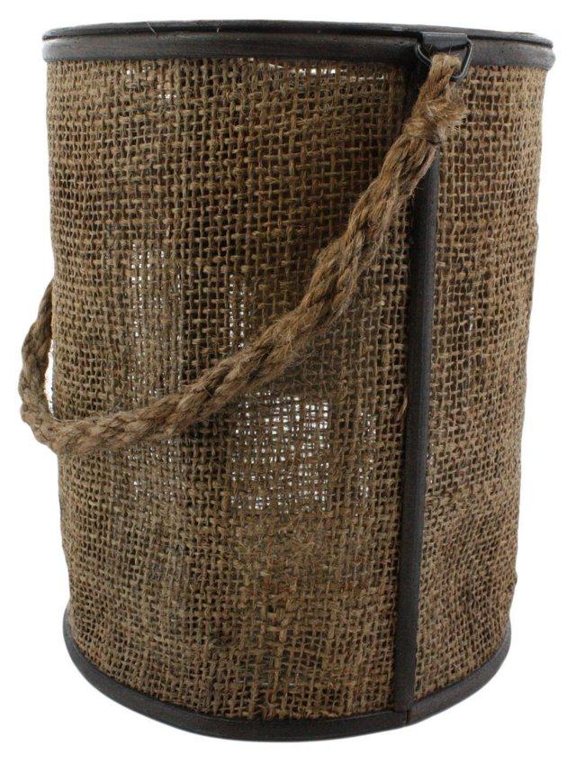 "9"" Burlap Bucket Lantern, Brown"