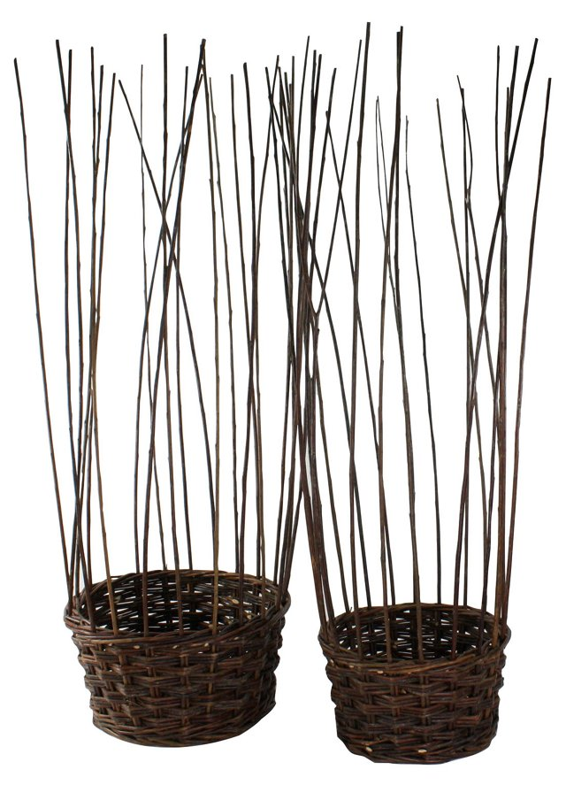 Asst. of 2 Willow Gathered Baskets, Brown