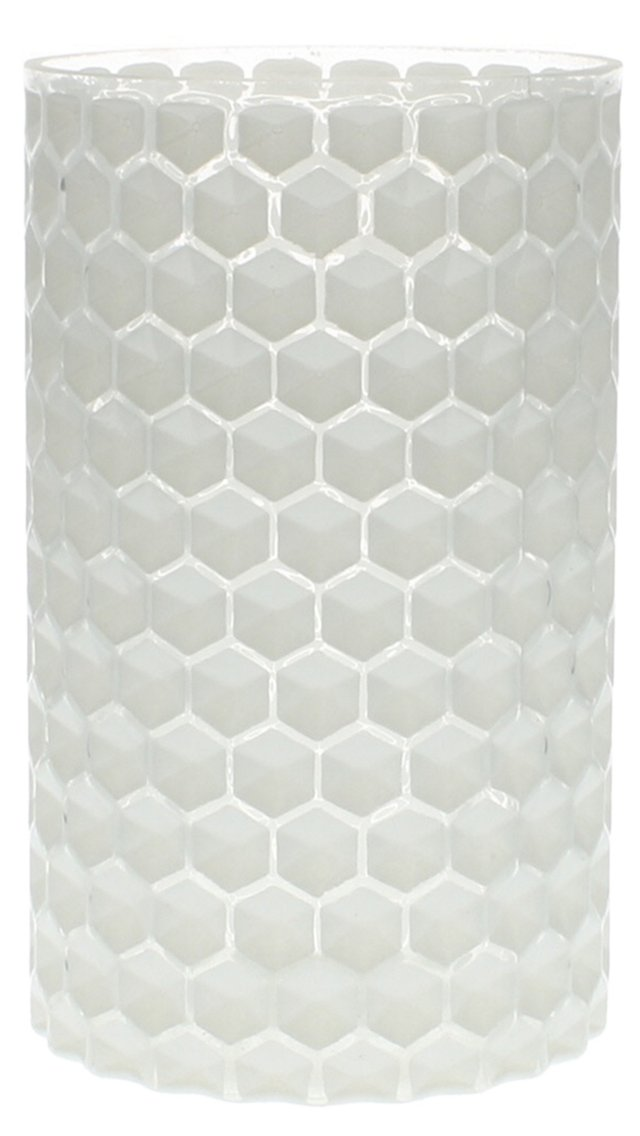 "7"" Honeycomb Glass Vase, White"