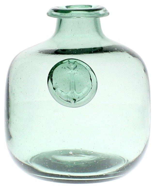 Set of 3 Glass Anchor Bottles, Green