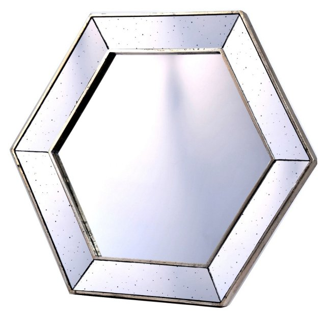 Versailles Hexagon Mirror, Silver